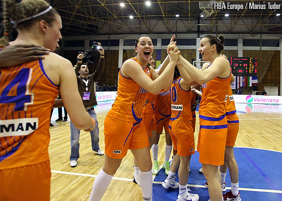 Targoviste's players celebrate after having secured a play-off berth
